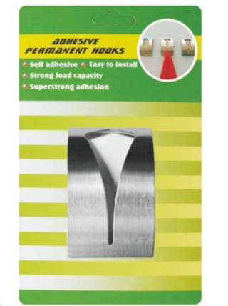 Adhesive stainless steel hook